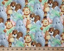 JUNGLE BABIES Fabric By the Yard, Half, Fat Quarter Giraffe Monkey Elephant Lion Tiger Baby Nursery Cotton Quilting t/s 5,15