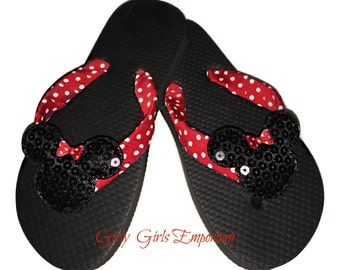 READY to SHIP Classic Minnie Sequin Mouse Sparkly Sequin Flips Flops with Red Polkadot Bow