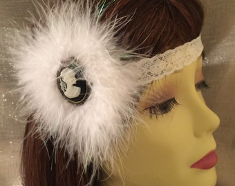 Cameo Jewelry, Great Gatsby headband, Flapper headband,1920s headband, art deco headband, black and ivory cameo, vintage headband, wedding