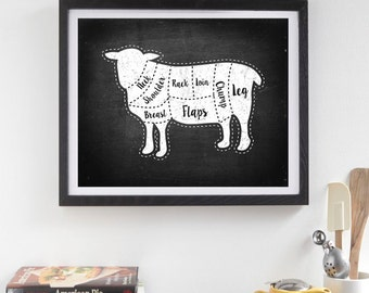 Butcher Diagram Prints, Lamb print, Kitchen Print, Butcher Chart, Kitchen Art, Butcher Diagram, Butcher Prints, Cuts of Meat