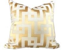 "Pindler Gold Greek Key Maze Fretwork Geometric Pillow Cushion Zipper Cover, Fits 16"" 18"" 20"" 22"" 24"" inserts"