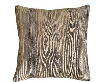 "Muir Woods Faux Bois Wood Grain Pattern Texture Chenille Velvet Chocolate Brown Pillow Cover, Fits 12x18 12x24  14x20 16x26 16"" 18"" 20"" 22"""