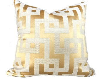"Designer Gold Ivory Greek Key Maze Fretwork Geometric Pillow Cover, Fits 16"" 18"" 20"" 22"" 24"" 26"" inserts"