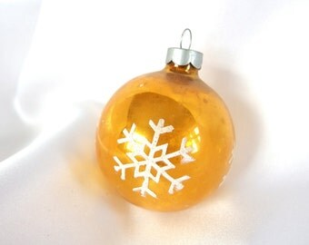 Vintage Gold USA Christmas Ornament, Stencil and Mica Snowflake Holiday Ornament