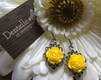 Yellow cabochon earrings, acrylic flower, antique silver