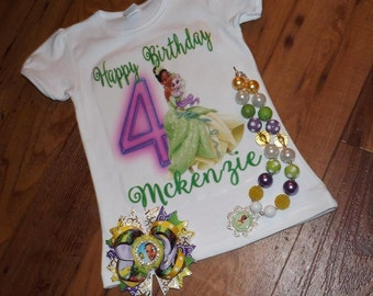 Princess Tiana inspired set, Princess and the frog chunky necklace, hair bow and shirt , Personalized Princess Tiana set - birthday shirt