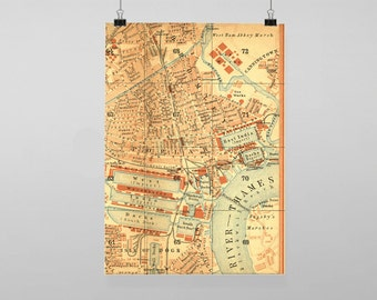 Vintage London Map Travel - Vintage Reproduction Wall Art Decro Decor Poster Print Any size