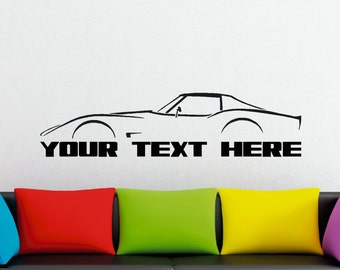 Large Custom car silhouette wall sticker - for Chevrolet Corvette C3 classic coupe