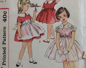 Simplicity 2902 girls dress & apron size 1 vintage 1950's sewing pattern