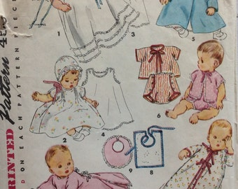 Simplicity 4507 vintage 1950's infant layette sewing pattern  one size