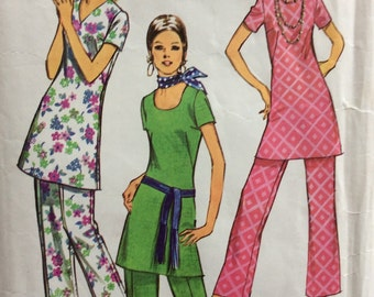 Simplicity 9363 misses Jiffy tunic and pants size 12 bust 34 vintage 1970's sewing pattern