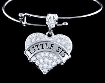 Little Sis Little Sister in handmade Crystal Heart Little sister bracelet Lil Sister jewelry