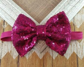 Fushia Bow headband, Fushia sequin bow headband, Big bow headband,  5 inch sequin bow headband, girls headband,pink sequin bow headband