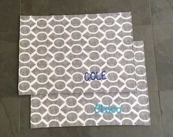 Grey Pet Placemat || Stylish Personalized Bowl Mat || Brown Feeding Station || Waterproof Custom Feeding Station by Three Spoiled Dogs