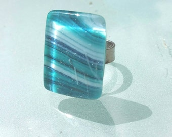 Adjustable ring ocean sea blue fusing glass handmade