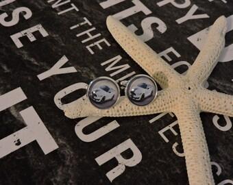 Cufflinks, Cuff Link,s Custom Cufflinks, Sterling Silver Plated, Mustang Cufflinks, Sports Car Cufflinks, Glass Bezel Cufflinks
