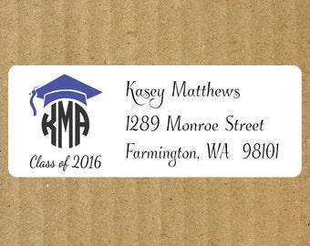Graduation Monogram Address Labels - Graduation Return Address Labels - Graduation Monogram - White - 90 Labels