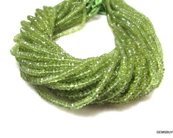 13.5 Inch 4mm To 4.5mm Natural GREEN PERIDOT AAA roundel beads faceted gemstone... Peridot Faceted Beads...