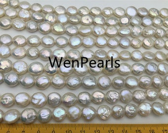 A 10-11mm white coin freshwater pearls,flat pearl beads,flat round pearls,coin pearl necklace material,COIN10-A-1