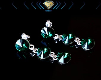 Swarovski earrings, Swarovski crystal earrings, Swarovski drop earrings. Swarovski emerald earrings, Silver earrings, Silver stud earrings