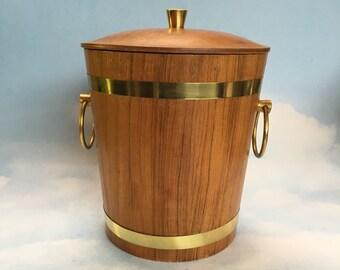Teak Wood Ice Bucket Vintage Mid Century Modern