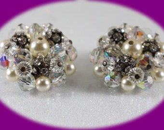 Vintage  Pearl and AB Crystal Silver tone  Back.. clip Earrings