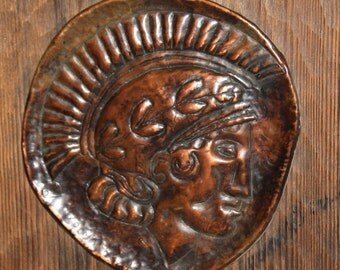 Vintage Wall Hanging Relief Copper Wood Wall Plaque Roman Male Head