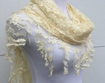 Ivory Fringe Scarf, Cream Scarf, Wedding Shawl, Country Bride Shawl, Wife Gift, Lace Scarf, Bridal Wrap, Ivory Bride Scarf, Lace Wrap