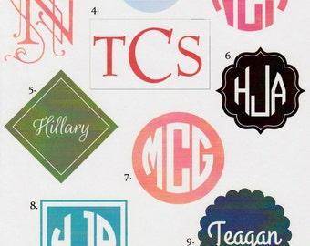 Personalized Vinyl Monogram/First or Last Name Decals for Indoor or Outdoor Use
