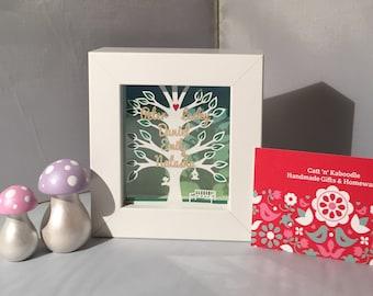 Mini Personalised Family Tree framed Papercut