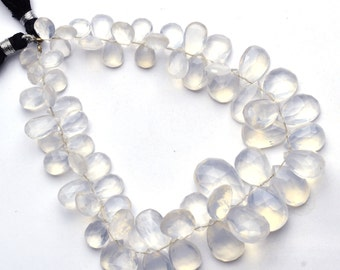 Natural Rare Gemstone Ice Quartz Faceted 6x9 to 12x19MM Pear Shape Briolettes 9 Inch Full Strand AAA Super Fine Quality Beads