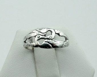 Vintage Love Swans In Solid Sterling Silver Ring  #SWANS-SR1
