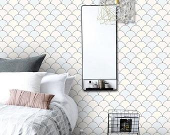 Scallop Pattern Wallpaper in Pastille  Removable Vinyl Wallpaper - Peel & Stick - No Glue, No Mess
