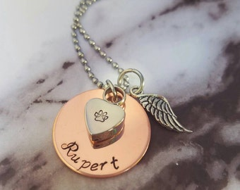 Pet loss Cremation Necklace - Copper - Urn Necklace - Custom Made Urn necklace - Heart Necklace - Memorial Necklace - Pet's ashes