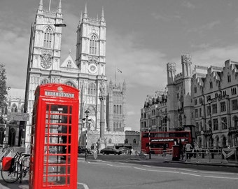London Photography, Phone Booth, Westminster Abbey, London Art, Red, Phone Box, Wall Art, British Decor, Black and White Art, 8 x 10 Print