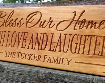 Bless this home wood sign-New home gift-Personalized housewarming gift-first home gift-new homeowner-bless our home sign-house warming gift