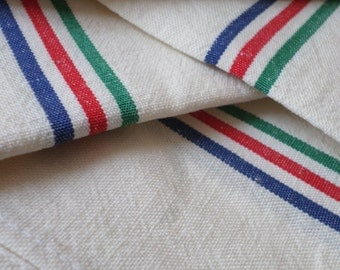 4 Vintage French Unused Striped Cotton Tea Towels