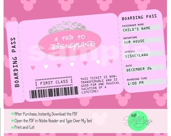 Printable Ticket to Disneyworld/Disneyland Customizable Ticket, Digital File - You Fill and Print