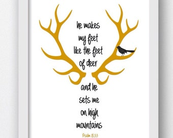 Bible Verse, My Feet Like Deer, Psalm 18:33 Psalms Verses Bible Verse, Psalm Bible Prints, Christian Art Prints, Digital Download  Art Print