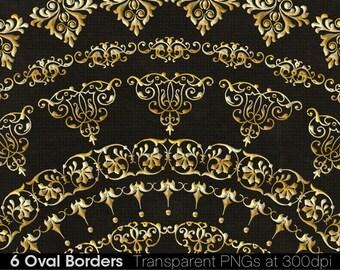 6 Gold Oval Borders Printable Gold Borders Digital Gold Borders Vintage Gold Borders High Resolution Gold Borders B001