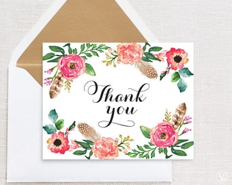 Floral Wedding Thank You Card Template, Printable Thank You Card, Boho Thank You Card - Instant DOWNLOAD - 4.25 x 5.5 inches folded, TY09