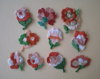 10 small orange vintage flowers, stick applications