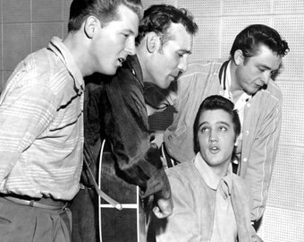 Elvis Presley, Jerry Lee Lewis, Carl Perkins, and Johnny Cash 1956 Stretched Canvas Art Poster Print Choice of sizes available.