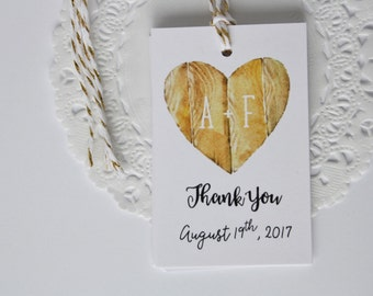 Wood Heart. Tree Bark. Initial Tags. Wedding Tags. Bridal Shower Tags. Rustic. Fall Wedding. Custom. Thank You Tags. Paper Goods. Party Tags