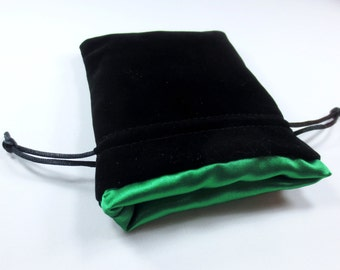 Elven Green Velvet Dice Bag with Satin Lining for Dungeons & Dragons, dnd,  also can be used as a velvet jewelry bag