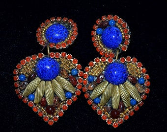 Vintage 1988 M J Hansen Signed Huge Eastern Style Runway Earrings Cobalt Blue Carnelian Gold 3 Inches
