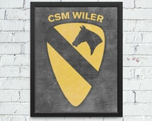 1st Cavalry 1st Cav Division Insignia Chalkboard Artwork - Personalized with your Soldier's Name and Rank - Army Gifts, Army Wife, Army Mom
