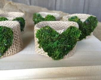6 Napkin rings/ moss napkin rings/ moss hearts napkin rings/ moss hearts/ tablescaping/ table decor/ heart napkin rings/ burlap napkin rings