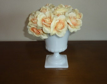 Vintage Milk Glass Pedestal Bowl White Wide Mouth Flower Vase Mid Century Collectible Wedding Cottage Shabby Chic Event Decor