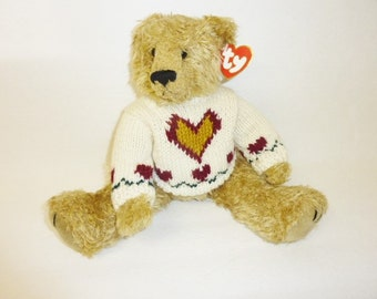 Vintage Ty Beanie Baby Large HEARTLEY Bear Original 1993 Ty Beanie Babies Knit Sweater Bear Collectible Plush Stuffed Animal Attic Treasures